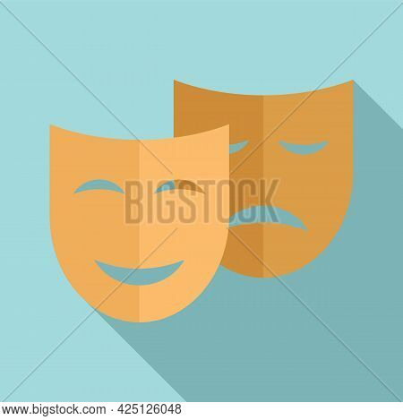 Theater Mask Icon Flat Vector. Drama Comedy Mask. Theater Tragedy