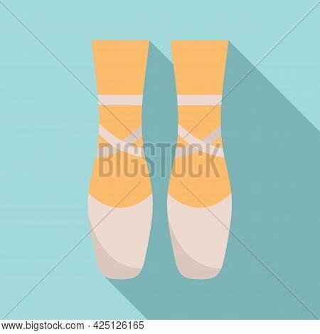 Ballerina Feets Icon Flat Vector. Dance Girl Foot. Classic Ballerina Feets