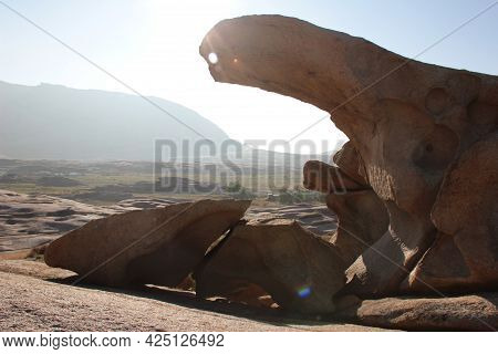 Bizarre Figures Of Volcanic Rocks In The Bektau Ata Tract In The Morning Sunlight, A Long Piece Of R