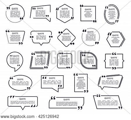 Quote Shapes. Black Texting Frames, Quotes Boxes With Quotation Marks. Speech Bubble, Mention Text F