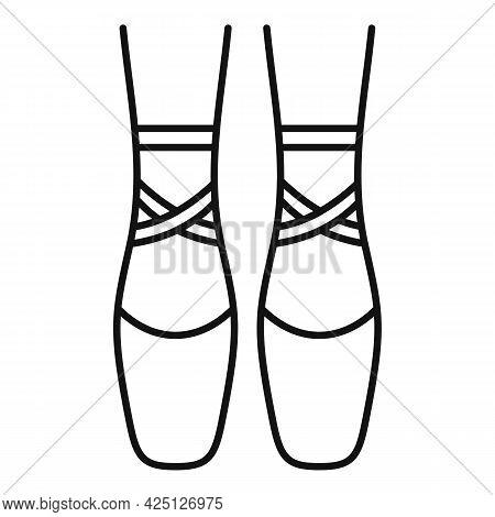 Ballerina Feets Icon Outline Vector. Dance Girl Foot. Classic Ballerina Feets