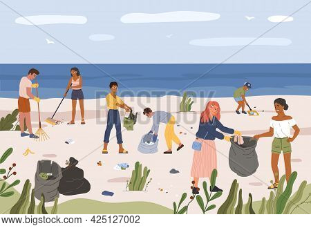 People Collecting Garbage On Beach. Men And Women Gathering Plastic Waste In Trash Bags. Volunteers