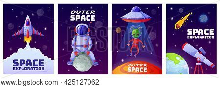 Cartoon Space Posters. Universe Banners With Astronaut, Rocket, Alien, Ufo, Planets, Stars. Cartoon
