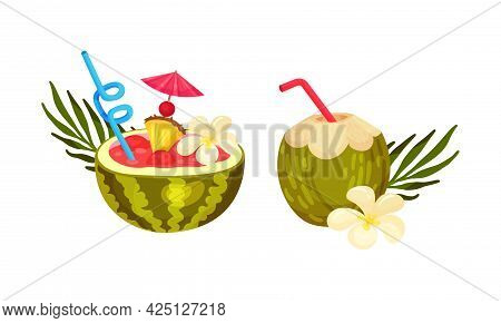 Exotic Cocktails With Straw And Umbrella Poured In Coconut And Watermelon Fruit Vector Set