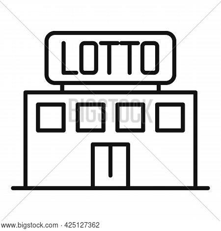 Lotto Building Icon Outline Vector. Bingo Lottery. Keno Lucky Game