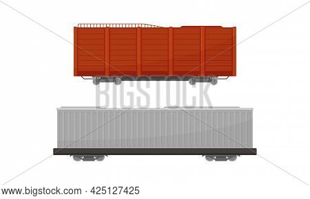 Train Freight Wagons And Cargo Railroad Car Vector Set