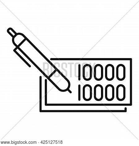 Pen Lotto Ticket Icon Outline Vector. Lottery Bingo. Lotto Game Note