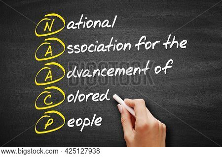 Naacp - National Association For The Advancement Of Colored People Acronym, Concept On Blackboard