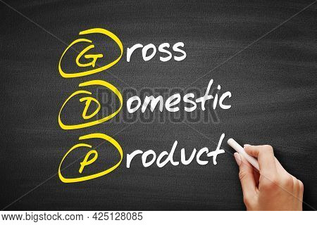 Gdp - Gross Domestic Product Acronym, Business Concept On Blackboard