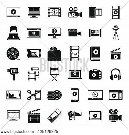 Screen Video Editing Icons Set Simple Vector. Online Player. Video Editing Play