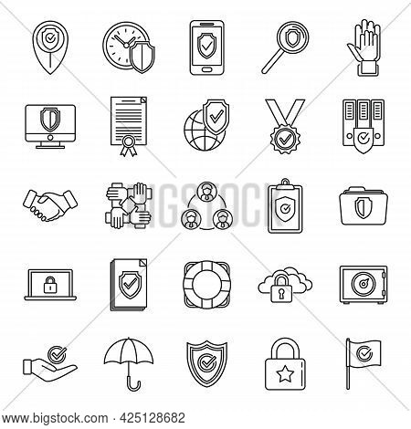Reliability Principles Icons Set Outline Vector. Social Customer Trust. Worker Dependable
