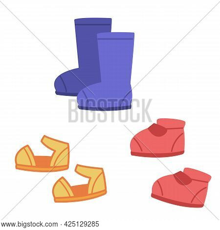 A Set Of Children S Shoes - Boots, Sandals And Shoes For The Baby. Vector Illustration In Cartoon Ch