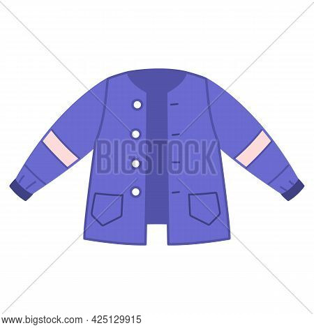 Blue Sports Jacket Windbreaker. Warm Outer Jacket For Children. Vector Illustration Of Clothes For A