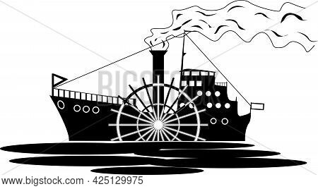 Vector Drawing Of An Old Steamer For Clothing Prints And Other Illustrations