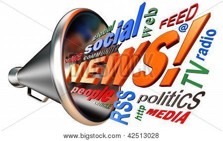 News Word Tag Cloud And Bullhorn