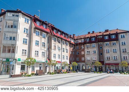 Szczecinek, Poland - May 31, 2021: Buildings On Marketplace.