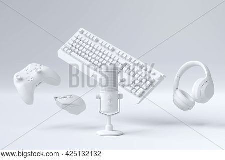 Flying Gamer Monochrome Gears Like Mouse, Keyboard, Joystick, Headset, Vr Headset. Microphone On Whi