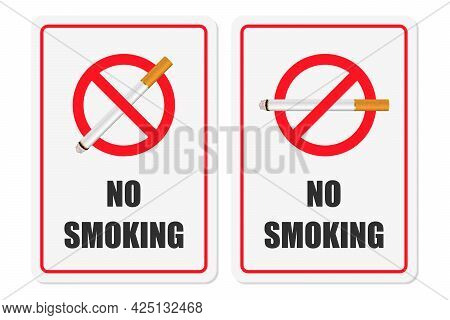 Vector No Smoking Area Sign, Symbol, Label Set Isolated On White Background. Realistic 3d Cigarette.