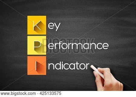 Kpi - Key Performance Indicator Acronym On Blackboard, Business Concept Background