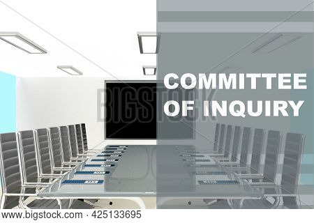 3d Illustration Of Committee Of Inquiry Title On A Glass Compartment
