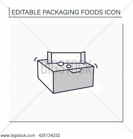 Snack Bars Line Icon. Paper Box With Snacks.portion Control, Protection, Tampering Resistance From B