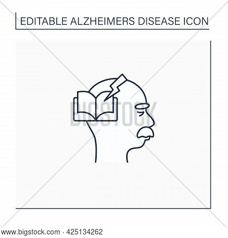 Reading Problems Line Icon.difficulties With Spelling Sounds, Concentration. Alzheimer Disease. Neur