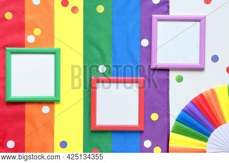 Rainbow Lgbt Flag Background With Frames, Fan. Text Space In Frames. Happy Pride Month. Flat Lay, Lg