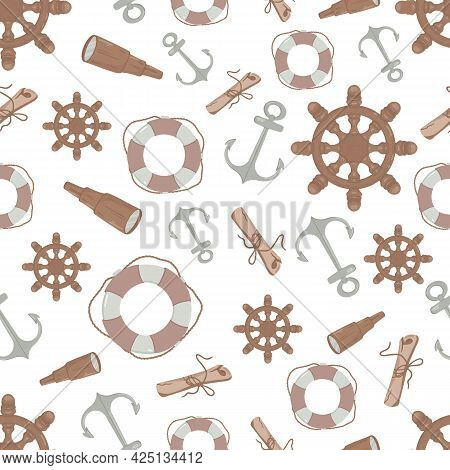Seamless Pattern On The Marine Theme. Vector Illustration In Cartoon Childrens Style. For Childrens