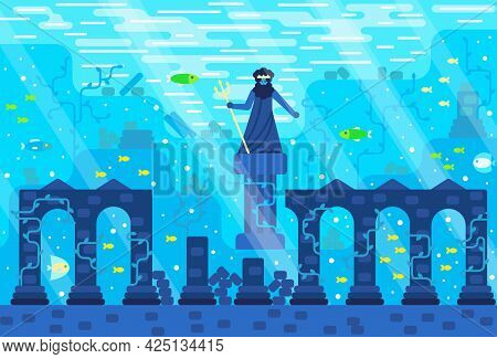 Greek Ruins - Statue Of Poseidon With Trident Underwater, Among Columns, Seaweed And Fish. Vector Il
