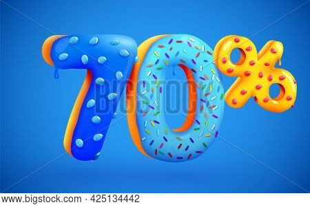 70 Percent Off. Discount Dessert Composition. 3d Mega Sale Symbol With Flying Sweet Donut Numbers. S