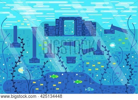 Ancient Ruins Underwater, Among Seaweed And Fish - Vector Illustration In Flat Cartoon Stile