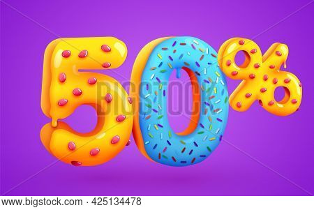 50 Percent Off. Discount Dessert Composition. 3d Mega Sale Symbol With Flying Sweet Donut Numbers. S