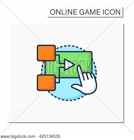 Interactive Movie Color Icon. Presents Gameplay In Cinematic Manner. Actions Change Game Script. Cut