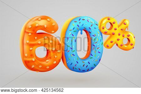 60 Percent Off. Discount Dessert Composition. 3d Mega Sale Symbol With Flying Sweet Donut Numbers. S