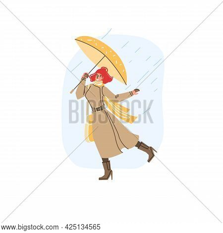 Vector Flat Cartoon Character In Autumn Season Walking Outdoor Under The Rain Holding Umbrella - Fas