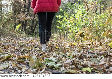 Woman Is Walking On Footpath In Autumn Park, Copy Space. Active Lifestyle, Walking In Beautiful Plac
