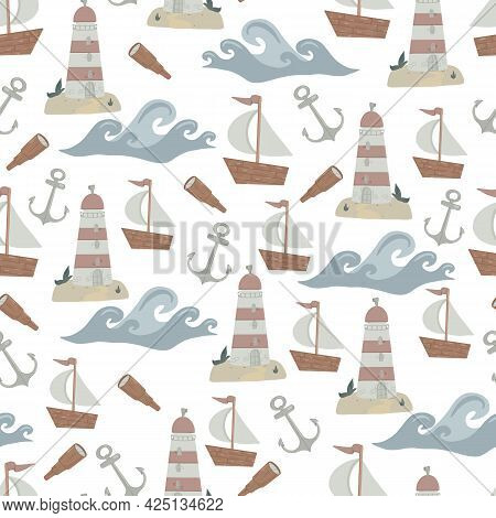 Seamless Pattern On The Marine Theme For Boys. Vector Childrens Illustration In Cartoon Style. Ideal