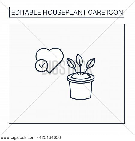 Gardening Line Icon. Healthy Houseplant. Well-maintained Plants.home Gardening. Houseplant Care Conc