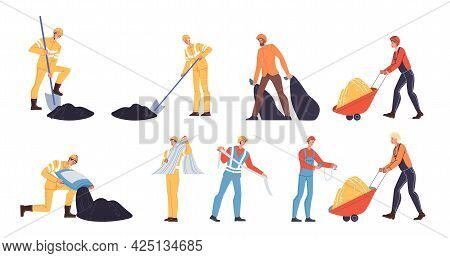 Set Of Vector Cartoon Flat Industrial Worker Characters At Work.engineer Workers At Road Constructio