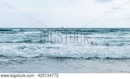 Mediterranean Sea In Storm. Overcast In La Manga Del Mar Minor, Spain. Picture Storm Landscape Of Me