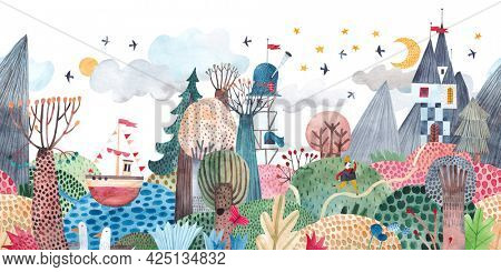 Horizontal repeating border. Fairy-tale landscape. Painting for the children's room. Image with mountains, fairy castles, exotic plants. Watercolor illustration. Seamless pattern.