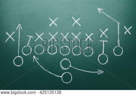 Football Game Strategy Drawn On Green Chalkboard