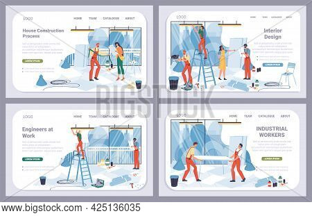 Vector Cartoon Flat Industrial Worker Characters, Office Renovation Landing Page Set.builder Workers