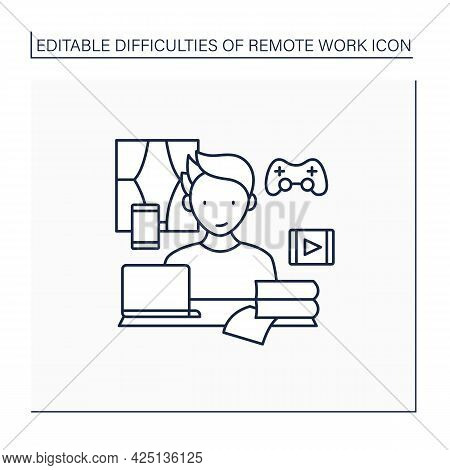 Remote Work Line Icon. Distractions At Home.control Entertainment While Working. Career Difficulties