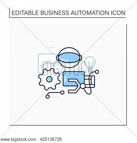 Robotizing Line Icon. Robotic Process Automation. Replacement For Manual, Screen-based Work Performe