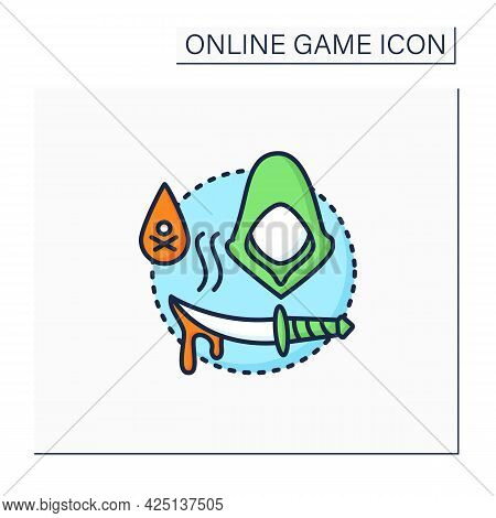 Stealth Games Color Icon.quietly Moves, Hides, Kills Enemies. Runs Task. Mystery Character. Online G
