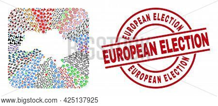 Vector Mosaic Ukraine Map Of Different Icons And European Election Seal. Mosaic Ukraine Map Created