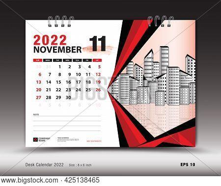 November 2022 Year, Desk Calendar 2022 Template, Printable, Planner, Wall Calendar Design, Week Star