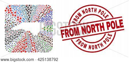 Vector Collage North Carolina State Map Of Different Symbols And From North Pole Stamp. Mosaic North