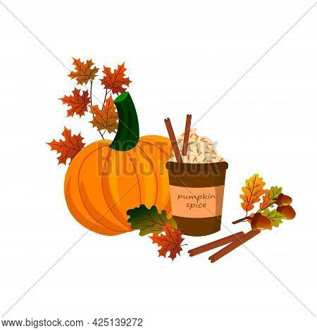 Card With A Cup Of Coffee With Pumpkin . Vector Illustration Isolated On White Background. For The D